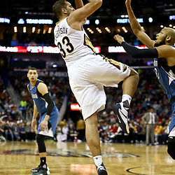 Feb 27, 2016; New Orleans, LA, USA; New Orleans Pelicans forward Ryan Anderson (33) shoots over Minnesota Timberwolves forward Adreian Payne (33) during the second half of a game at  the Smoothie King Center. The Timberwolves defeated the Pelicans 112-110.  Mandatory Credit: Derick E. Hingle-USA TODAY Sports