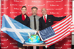 Alan Cumming and staff with the cake, as Delta launching year-round nonstop service from Edinburgh to New York-JFK today at Edinburgh Airport.