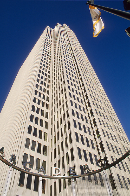 Looking up at the Embarcadero office building in downtown San Francisco, California