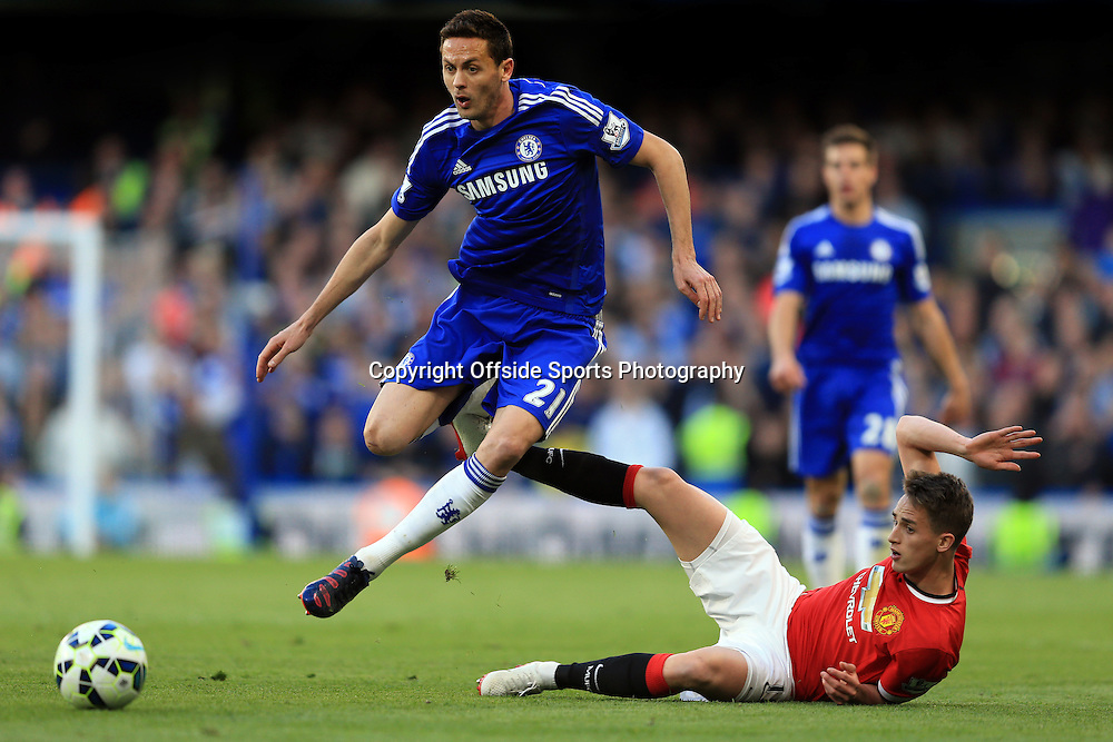 18 April 2015 - Barclays Premier League - Chelsea v Manchester United - Nemanja Matic of Chelsea in action with Adnan Januzaj of Manchester United - Photo: Marc Atkins / Offside.