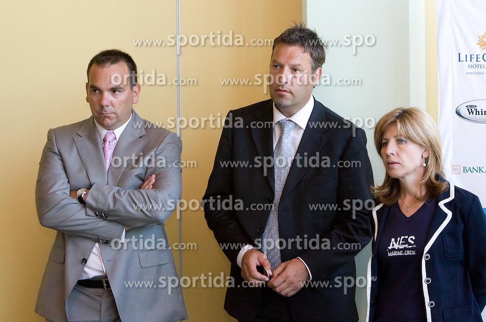 Director Andrej Bizjak, Zoran Kofol, Mima Jausevec at press conference before Banka Koper Slovenia Open 2009 of Sony Ericsson WTA tour in Portoroz,  on July 16, 2009, in Ljubljana, Slovenia. (Photo by Vid Ponikvar / Sportida)