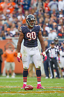 06 October 2013: Defensive end (98) Corey Wootton of the Chicago Bears against the New Orleans Saints during the second half of the Saints 26-18 victory over the Bears in an NFL Game at Soldier Field in Chicago, IL.