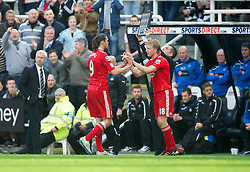 NEWCASTLE-UPON-TYNE, ENGLAND - Sunday, April 1, 2012: Newcastle United supporters jeer their former hero as Liverpool's Andy Carroll is substituted during the Premiership match at St James' Park. (Pic by David Rawcliffe/Propaganda)