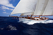 Juno sailing in the 2010 Antigua Classic Yacht Regatta, Windward Race, day 4.