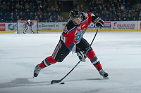 KELOWNA, CANADA - NOVEMBER 30: Damon Severson #7 of the Kelowna Rockets takes s slap shot from the point against the  Moose Jaw Warriors at the Kelowna Rockets on November 30, 2012 at Prospera Place in Kelowna, British Columbia, Canada (Photo by Marissa Baecker/Getty Images) *** Local Caption ***