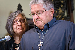 May 9, 2017 - St. Paul, Minnesota, USA - Patty Vasek looked on as her husband Ron Vasek told the story of how he was abused by Msgr. Roger Grundhaus at 16 and how 46 years later, as Ron studied to become a deacon, Bishop Hoeppner threatened to prevent him from becoming a deacon and threatened Ron's son's future as a priest in the Diocese of Crookston. The suit against the Diocese was brought by attorney Jeff Anderson, left.      ] GLEN STUBBE Â¥ glen.stubbe@startribune.com Tuesday May 9, 2017 (Credit Image: © Glen Stubbe/Minneapolis Star Tribune via ZUMA Wire)