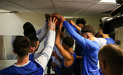 Jan 27, 2018; Morgantown, WV, USA; Kentucky Wildcats players huddle before heading onto the court before their game against the West Virginia Mountaineers at WVU Coliseum. Mandatory Credit: Ben Queen-USA TODAY Sports