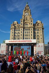 LIVERPOOL, ENGLAND - Monday, May 9, 2016: Liverpool's Natasha Harding, goalkeeper Simon Mignolet, Philippe Coutinho Correia, captain Jordan Henderson, Jon Flanagan and Gemma Bonner at the launch of the New Balance 2016/17 Liverpool FC kit at a live event in front of supporters at the Royal Liver Building on Liverpool's historic World Heritage waterfront. (Pic by David Rawcliffe/Propaganda)