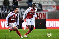 Diego RIGONATO / Prince ONIANGUE  - 13.12.2014 - Reims / Evian Thonon  - 18eme journee de Ligue1<br />Photo : Fred Porcu / Icon Sport