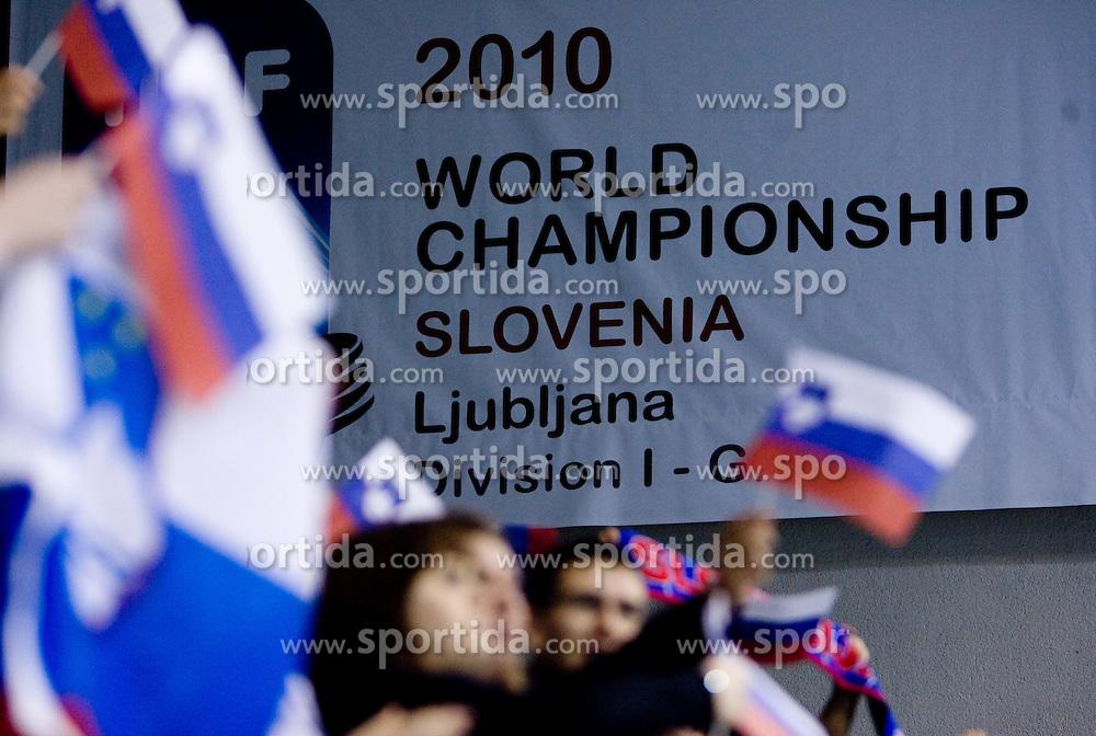 Fans of Slovenia at IIHF Ice-hockey World Championships Division I Group B match between National teams of Slovenia and Croatia, on April 18, 2010, in Tivoli hall, Ljubljana, Slovenia.  (Photo by Vid Ponikvar / Sportida)
