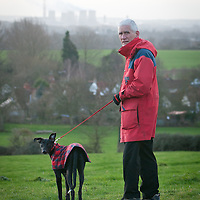 Albert in his red coat on a lovely walk.
