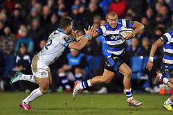 Jonathan Joseph of Bath Rugby takes on the Montpellier defence - Photo mandatory by-line: Patrick Khachfe/JMP - Mobile: 07966 386802 12/12/2014 - SPORT - RUGBY UNION - Bath - The Recreation Ground - Bath Rugby v Montpellier - European Rugby Champions Cup