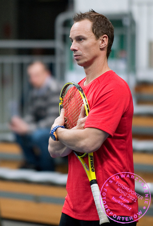 Radoslaw Szymanik - captain of Polish team while training session three days before the BNP Paribas Davis Cup 2013 between Poland and South Africa at MOSiR Hall in Zielona Gora on April 03, 2013.<br />