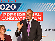 15 JULY 2019 - DES MOINES, IOWA: Senator CORY BOOKER (D-NJ) speaks at the first AARP Presidential Candidate Forum in Des Moines. The forum featured Senator Cory Booker, Governor John Hickenlooper, Senator Amy Klobuchar and Vice President Joe Biden. The AARP is hosting other forums for the rest of the Democratic field in other towns in Iowa this week. Iowa hosts the first event of the 2020 Presidential election cycle. The Iowa Caucuses are on February 3, 2020.       PHOTO BY JACK KURTZ