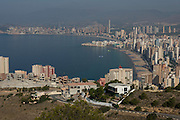 View showing Levante beach foreground and Poniente beach in background, Benidorm, Costa Blanca, Alicante Province, Spain