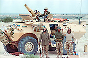 Saudi Arabian soldiers stand guard near the border with Kuwait following the Battle of Khafji February 2, 1991 in Khafji City, Saudi Arabia. The Battle of Khafji was the first major ground engagement of the Gulf War.