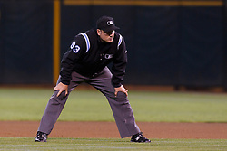August 15, 2011; Oakland, CA, USA;  MLB umpire Dan Bellino (93) stands in the infield during the seventh inning between the Oakland Athletics and the Baltimore Orioles at O.co Coliseum.  Baltimore defeated Oakland 6-2.