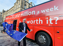Pictured: Boris Johnson look-alike Drew Galdron speaks to the crowd.<br /> <br /> Campaigners demanding Britain stays in the EU took a 'brexit bus' to Edinburgh on Saturday, complete with a Boris Johnson look-alike to get their message accross.<br /> <br /> &copy; Dave Johnston / EEm