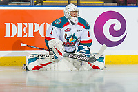 KELOWNA, CANADA - DECEMBER 29:  James Porter #1 of the Kelowna Rockets stretches on the ice during warm up against the Kamloops Blazers on December 29, 2018 at Prospera Place in Kelowna, British Columbia, Canada.  (Photo by Marissa Baecker/Shoot the Breeze)