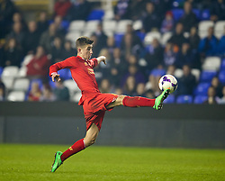 READING, ENGLAND - Wednesday, March 12, 2014: Liverpool's Cameron Brannagan in action against Reading during the FA Youth Cup Quarter-Final match at the Madejski Stadium. (Pic by David Rawcliffe/Propaganda)