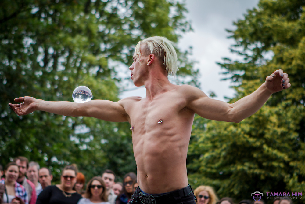 The Laya Healthcare City Spectacular in Merrion Square attracts hundreds of visitor. Images from Aerial Manx from his show where he combines sword-swallowing, acrobats and more.
