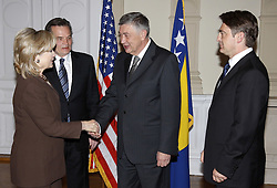 12.10.2010., Sarajevo, BiH - US Secretary of State Hillary Clinton arrived in Sarajevo and meets members of Bosnia's tripartite presidency Haris Silajdzic, Zeljko Komsic and Nebojsa Radmanovic. .EXPA Pictures © 2010, PhotoCredit: EXPA/ nph/  HaloPix/nph+++++ ATTENTION - OUT OF GER +++++
