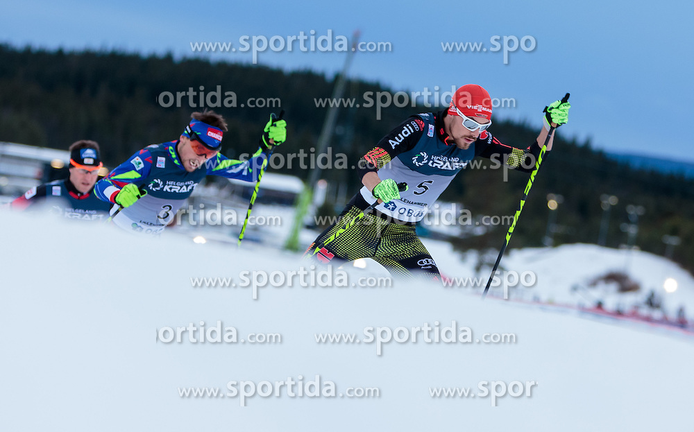 05.12.2015, Nordic Arena, NOR, FIS Weltcup Nordische Kombination, Lillehammer, Langlauf, im Bild v.l.: Bernhard Gruber (AUT), Francois Braud (FRA), Fabian Riessle (GER) // Bernhard Gruber of Austria, Francois Braud of France, Fabian Riessle of Germany during Cross Country Competition of FIS Nordic Combined World Cup at the Nordic Arena, Lillehammer, Norway on 2015/12/05. EXPA Pictures © 2015, PhotoCredit: EXPA/ JFK