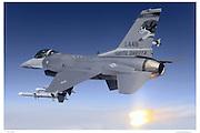 F-16C firing flares, air-to-air