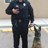 Officer Arnold Noriega and new K-9 Candace. Candace was donated to the Milan Police Department from the Bernalillo County Sheriff's Office.