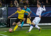 Football - 2018 / 2019 UEFA Champions League - Round of Sixteen, Second Leg: Borussia Dortmund (0) vs. Tottenham Hotspur (3)<br /> <br /> Marius Wolf (Borussia Dortmund) crosses from the corner flag as Christian Eriksen (Tottenham FC)  closes in at Signal Iduna Park (Westfalenstadion).<br /> <br /> COLORSPORT/DANIEL BEARHAM