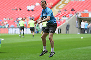 Forest Green Rovers strength and conditioning coach Tom Huelin takes the warm up during the Vanarama National League Play Off Final match between Tranmere Rovers and Forest Green Rovers at Wembley Stadium, London, England on 14 May 2017. Photo by Shane Healey.