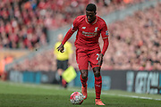 Divock Origi (Liverpool) cuts in from the left wing to score Liverpool's fourth, 4-1 during the Barclays Premier League match between Liverpool and Stoke City at Anfield, Liverpool, England on 10 April 2016. Photo by Mark P Doherty.