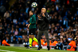 Manchester City manager Pep Guardiola catches the ball - Mandatory by-line: Robbie Stephenson/JMP - 26/11/2019 - FOOTBALL - Etihad Stadium - Manchester, England - Manchester City v Shakhtar Donetsk - UEFA Champions League Group Stage