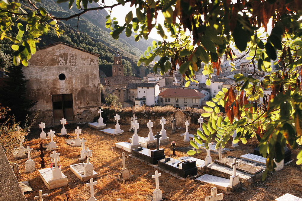 Graveyard and church in Arnedillo, La Rioja, Spain.