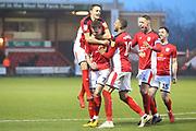7 Chris Porter  celebrates the opening goal for Crewe Alexander during the EFL Sky Bet League 2 match between Crewe Alexandra and Lincoln City at Alexandra Stadium, Crewe, England on 26 December 2018.