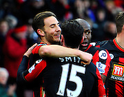 AFC Bournemouth midfielder Dan Gosling celebrates his gal with AFC Bournemouth defender Adam Smith and his other team mates during the Barclays Premier League match between Bournemouth and Norwich City at the Goldsands Stadium, Bournemouth, England on 16 January 2016. Photo by Graham Hunt.