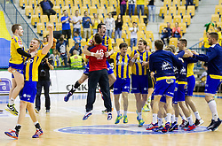 Miha Zarabec of RK Celje PL and Blaz Blagotinsek of RK Celje PL celebrate after winning during handball match between RK Celje Pivovarna Lasko and RK Gorenje Velenje in 3rd Round of Final of 1st NLB League and Slovenian National Handball Championship 2014/15, on May 28, 2015 in Arena Zlatorog, Celje, Slovenia. RK Celje Pivovarna Lasko won 3rd time and became Slovenian National Champion 2015. Photo by Vid Ponikvar / Sportida