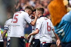 Jem Karacan of Bolton Wanderers celebrates with Mark Beevers after scoring a goal to make it 1-0 - Rogan Thomson/JMP - 30/04/2017 - FOOTBALL - Macron Stadium - Bolton, England - Bolton Wanderers v Peterborough United - EFL Sky Bet League One.