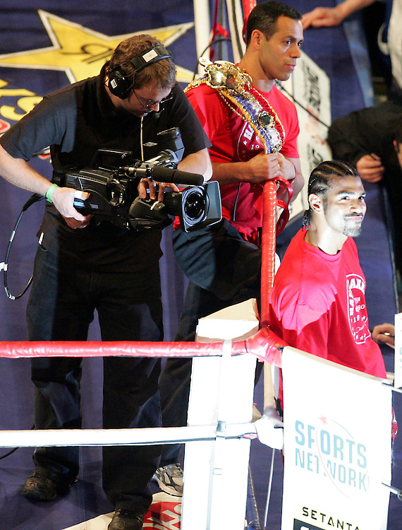 WBA and WBC champion David Haye prepares to enter the ring. Haye knocked out WBO champion Enzo Maccarinelli in two rounds on Saturday night at the O2 Arena in London. 8th March 2008.
