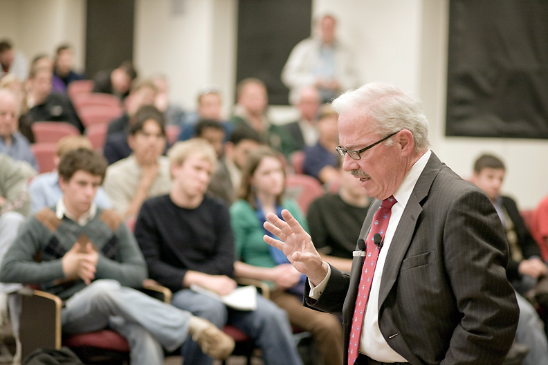 Libertarian Party Presidential candidate Bob Barr speaks at Duke University, Oct. 28, 2008.