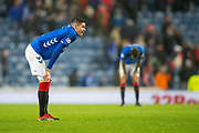 Kyle Lafferty (#38) of Rangers FC after the final whistle of the Ladbrokes Scottish Premiership match between Rangers and Aberdeen at Ibrox, Glasgow, Scotland on 5 December 2018.