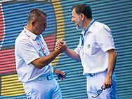 REFEREES:<br /> PAOLETTI Attilio (ITA)<br /> STAVRIDIS Georgios (GRE)<br /> RUS - SVK  Russia (white caps) vs. Slovakia (blue caps) <br /> Barcelona 15/07/18 Piscines Bernat Picornell <br /> Menqualification<br /> 33rd LEN European Water Polo Championships - Barcelona 2018 <br /> Photo Pasquale Mesiano/Deepbluemedia/Insidefoto