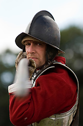 A Reenactor portrays a Pikeman from Oliver Cromwells Army during the period of the English Civil war at a multi period event held in Norfolk hHeritage Park in Sheffield 29th and 30th Aug 2010 .Images © Paul David Drabble.