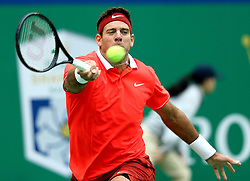 SHANGHAI, Oct. 10, 2018  Argentina's Juan Martin del Potro hits a return during the men's singles second round match against France's Richard Gasquet at the Shanghai Masters tennis tournament on Oct. 10, 2018. Juan Martin del Potro won 2-0. (Credit Image: © Fan Jun/Xinhua via ZUMA Wire)