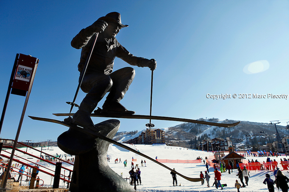 SHOT 2/4/12 10:57:00 AM - A statue of Steamboat local Billy Kidd at the base of Steamboat Ski Resort greets skiers daily. Due to injuries, Kidd retired from pro racing in 1972. He relocated to Steamboat Springs, Colorado, in 1970 and has since been identified with the Steamboat Ski Resort, where he continues to serve as its director of skiing. During the winter months, guests can ski free with Billy every day and get ski tips, instruction and stories about the Olympics and skiing. The city of Steamboat Springs, Co. is a Home Rule Municipality that is the county seat and the most populous city of Routt County, Colorado, United States. The city is an internationally known winter ski resort destination. The Steamboat Springs tourism industry is highlighted by Steamboat Ski Resort, which is on Mount Werner in the Park Range just east of the town. (Photo by Marc Piscotty / © 2012)