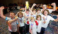 Termin8tors Dylan Whelan,  Pearse Geoghegan Kevin McAndrew Cian Roche, Eoin O Reilly ,Dainiel Geoghegan, Darragh Coughlan, Micheal McAndrew and  Emett Geoghegan  from County Galway who were triumphant  in the Radisson blu hotel in Galway at the weekend as they were named Irish champions at the FIRST LEGO League 2012, sponsored by SAP. The theme for this year's competition was food safety, and the team beat off hot competition from 23 other teams from all over the country - all vying for a place in the European finals which will take place in Germany in June. Photo:Andrew Downes.
