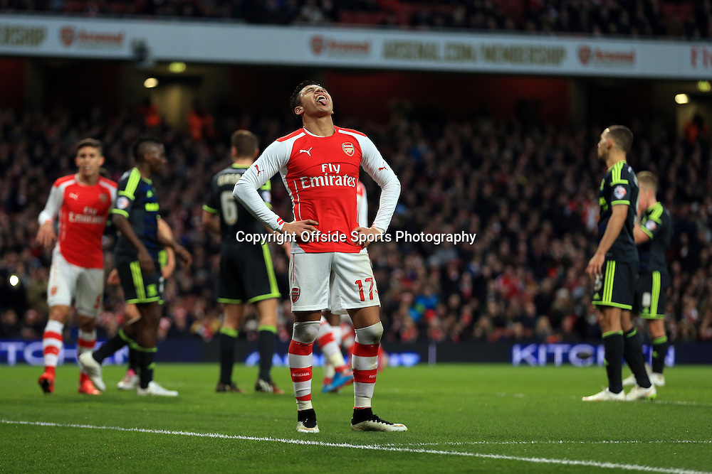 15 February 2015 - The FA Cup Fifth Round - Arsenal v Middlesbrough - Alexis Sanchez of Arsenal reacts to a missed chance - Photo: Marc Atkins / Offside.