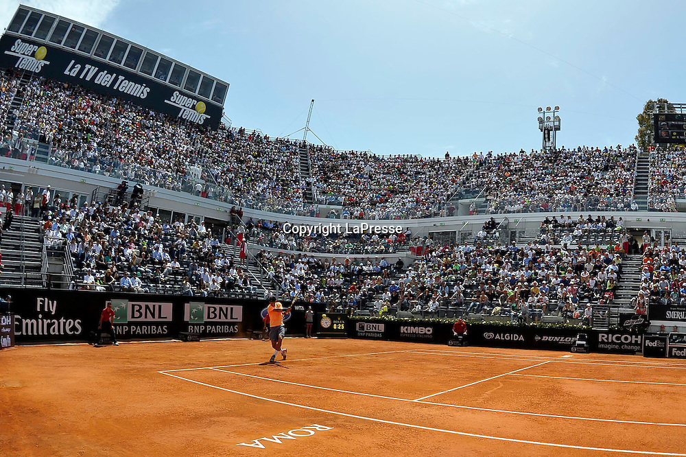 Foto Alfredo Falcone - LaPresse<br /> 18/05/2012 Roma ( Italia)<br /> Sport Tennis<br /> Tomas Berdych (CZE) - Rafael Nadal (ESP)Internazionali BNL d'Italia 2012<br /> Nella foto:Rafael Nadal<br /> Tomas Berdych (CZE) - Rafael Nadal (ESP)<br /> Photo Alfredo Falcone - LaPresse<br /> 18/05/2012 Roma (Italy)<br /> Sport Tennis<br /> Internazionali BNL d'Italia 2012<br /> In the pic:Rafael Nadal