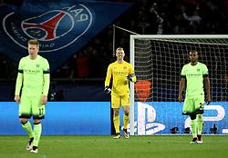 Joe Hart of Manchester City looks frustrated after conceding a second goal - Mandatory by-line: Robbie Stephenson/JMP - 06/04/2016 - FOOTBALL - Parc des Princes - Paris,  - Paris Saint-Germain v Manchester City - UEFA Champions League Quarter Finals First Leg