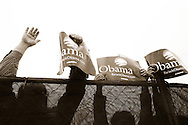 Supporters listen as U.S. Senator Barack Obama addresses a crowd of nearly 17,000 at a rally in Austin, Texas, February 23, 2007. ATLAS PRESS/Keith Bedford (UNITED STATES)